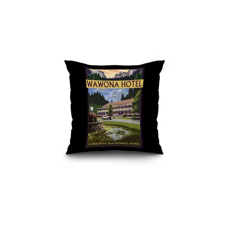 Yosemite National Park  California   Wawona Hotel   Lantern Press Artwork  16X16 Spun Polyester Pillow  Black Border
