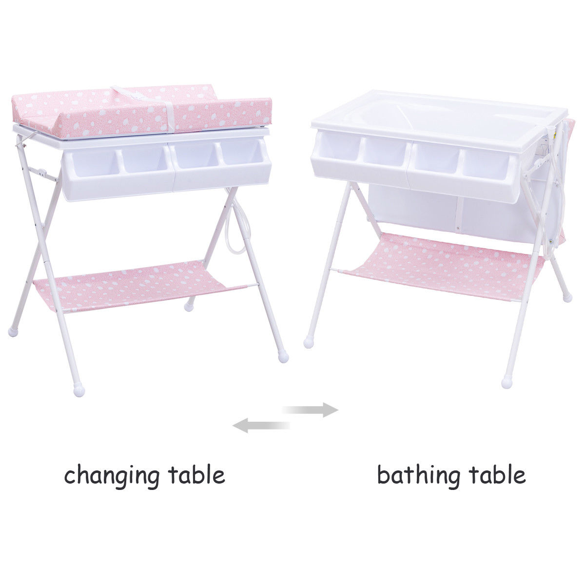 Costway Infant Baby Bath Changing Table Diaper Station Storage Organizer - image 4 of 8