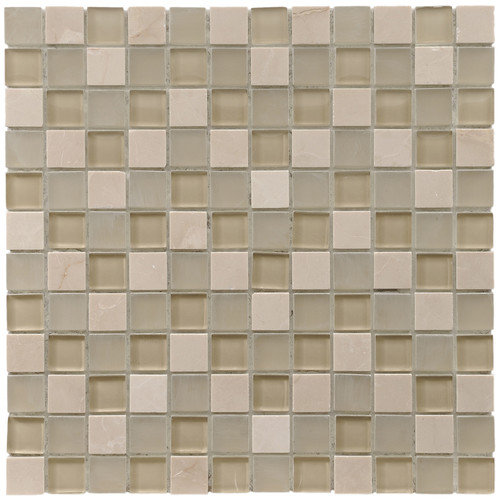 EliteTile Sierra 11-3/4'' x 11-3/4'' Polished Glass and Stone Square Mosaic in Sandstone