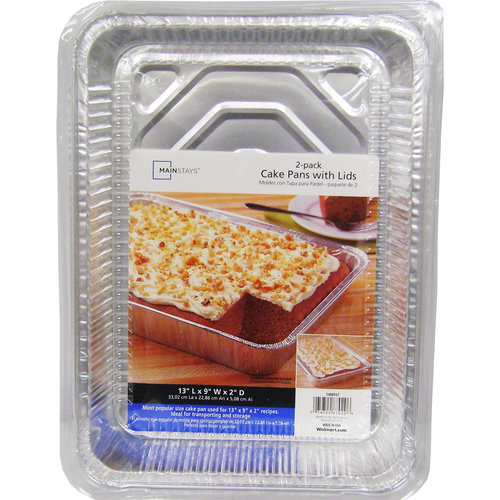 Mainstays Cake Pans with Lids, 2pk