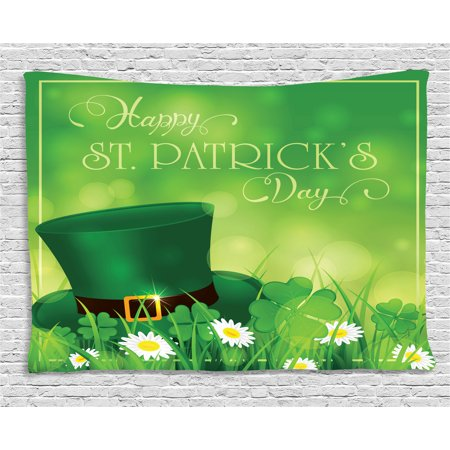 St. Patrick's Day Tapestry, Happy Greetings for Cultural Day Religion Shamrock Daisy and Leprechaun Hat, Wall Hanging for Bedroom Living Room Dorm Decor, 80W X 60L Inches, Green, by (Tapestry Hat)