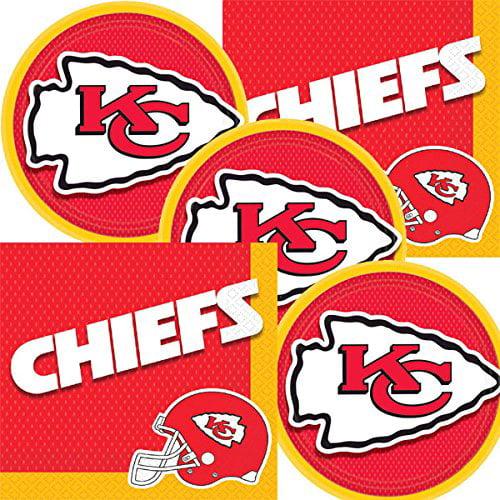 Kansas City Chiefs Nfl Football Team Logo Plates And Napkins Serves 16 Walmart Com Walmart Com