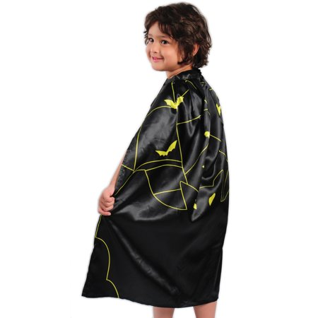 Kid Fun Halloween Bat Dress Up Costume Cape, Black Yellow, One-Size 30
