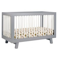 Babyletto Hudson 3-in-1 Convertible Crib with Toddler Rail, Grey/White