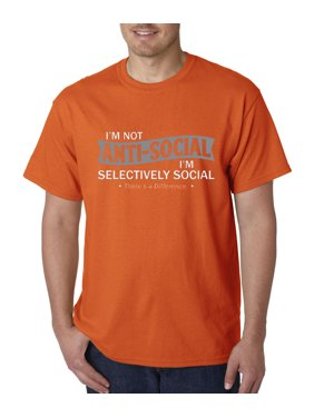 Trendy USA 464 - Unisex T-Shirt Not Anti-Social Selectively Social There's A Difference Small Heliconia
