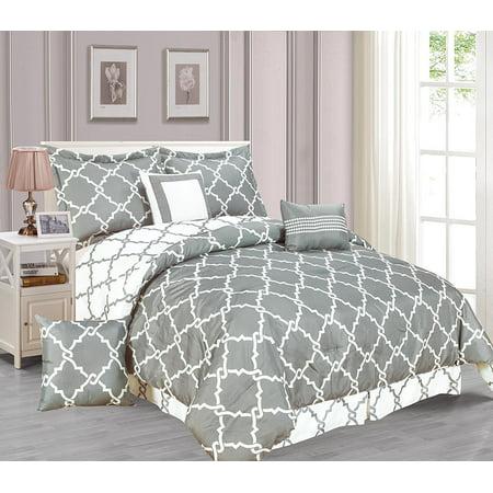 Galaxy 7 Piece Comforter Set Reversible Soft Oversized Bedding Gray Queen Size