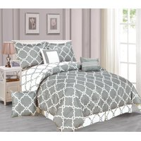 Galaxy 7-Piece Comforter Set Reversible Soft Oversized Bedding Gray Queen Size