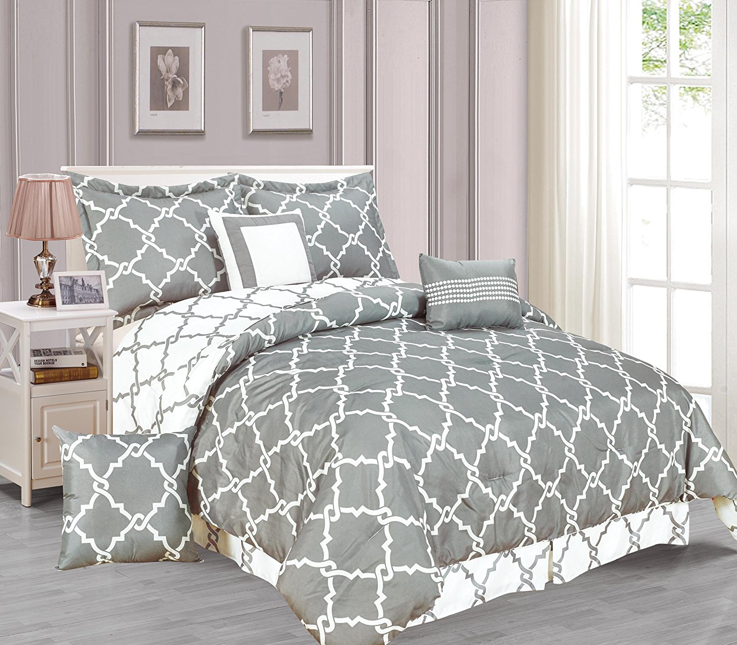 galaxy 7piece comforter set reversible soft oversized bedding gray california king size