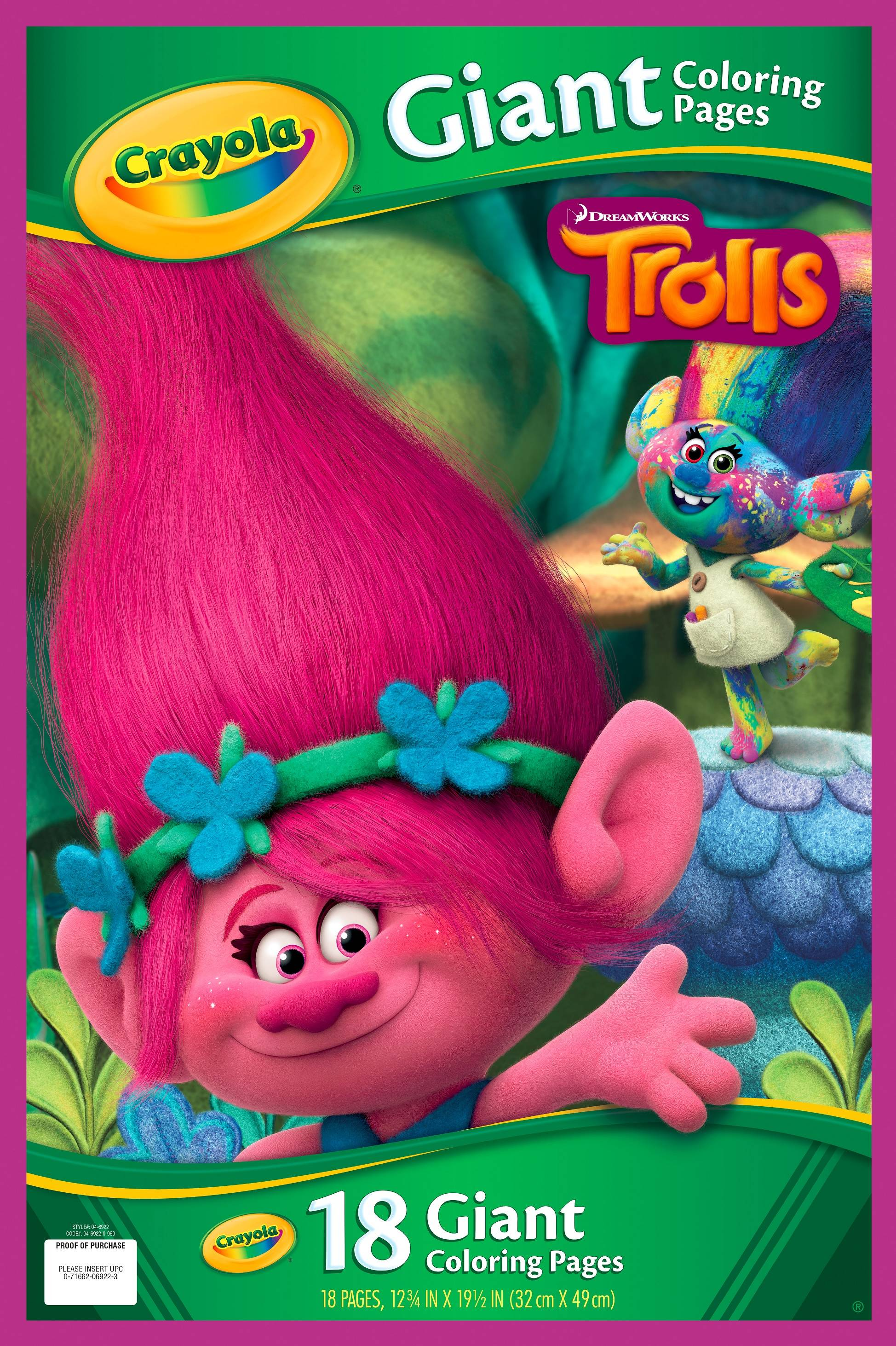 crayola giant coloring pages trolls 18 pages walmartcom