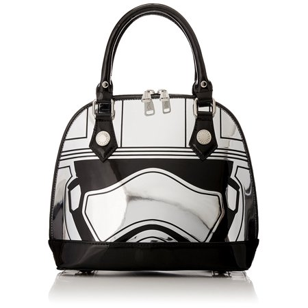 Large Silver Dome (Loungefly Captain Phasma Silver Metallic Embossed Dome Top Handle Bag, Grey, One)