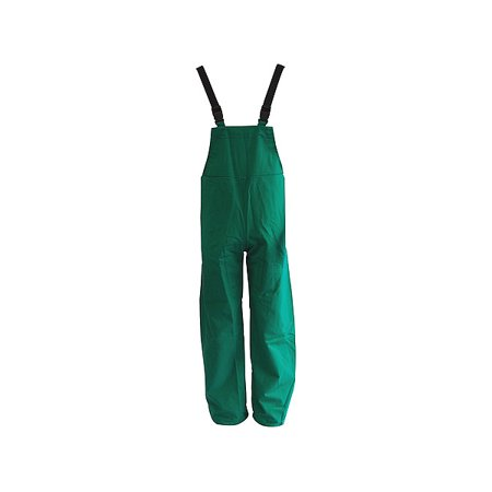 Green Dominator .42 mm Polyester And PVC Bib Pants With Take Up Snaps On Ankles