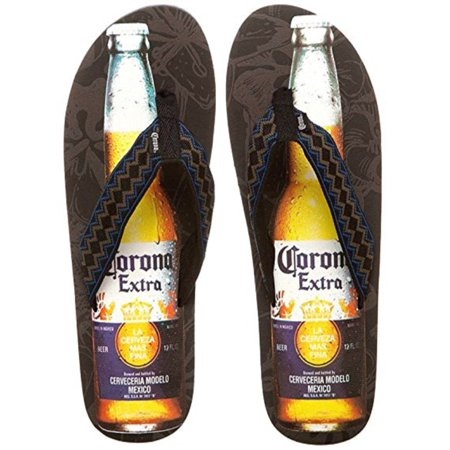 Corona Extra Beer Bottle Mens Black-Brown-Blue Flip Flops Sandals Thongs (Medium)