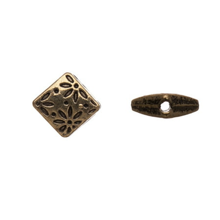 Pewter Beads, Antique-Brass-Plated, Double-Sided Flower Engraved Squares, 7,5mm Sold per pkg of 10pcs per pack ()