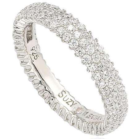 Sterling Silver Micro-pave Cubic Zirconia Eternity Band