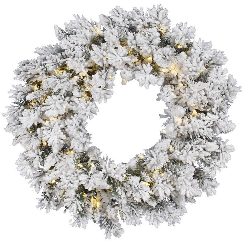 """Vickerman 30"""" Flocked Snow Ridge Wreath LED50 Warm White"""
