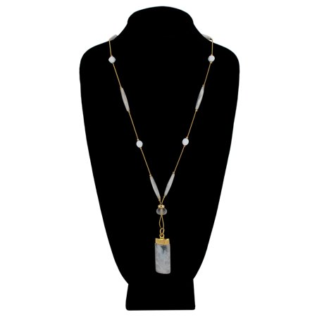 Long Serpantine Chain Clear Lucite Marbled White Cylinder Pendant Necklace
