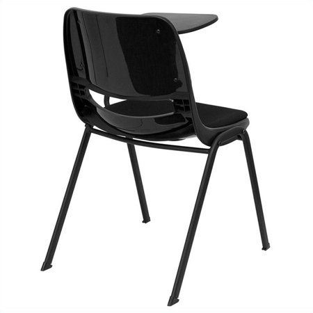 Bowery Hill Padded Ergonomic Shell Stacking Folding Chair in Black - image 2 de 4