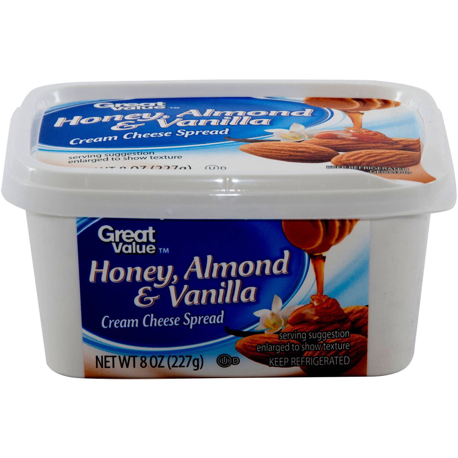 Great Value Honey Almond & Vanilla Cream Cheese Spread, 8 oz