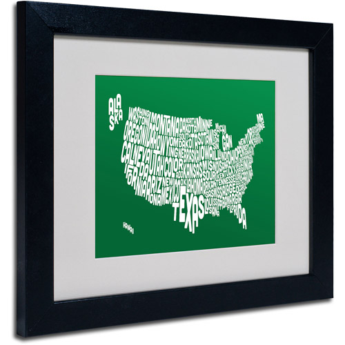 "Trademark Fine Art ""FOREST-USA States Text Map"" Matted Framed by Michael Tompsett"