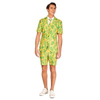 Yellow and Green Sunny Yellow Cactus Plant Men Adult Summer Suit - Large