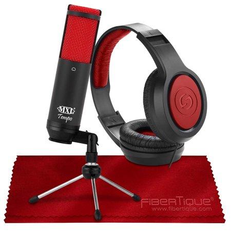 Marshall Electronics Mxl Usb - MXL Tempo KR USB Cardioid Condenser Microphone (Black/Red) with Studio Headphones Accessory Bundle