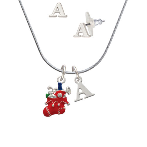 Red Christmas Stocking - A Initial Charm Necklace and Stud Earrings Jewelry Set