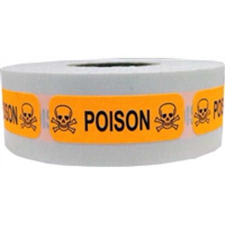 Fluorescent Orange with Black Poison Stickers, 0.5 x 1.5 Inches in Size, 500 Labels on a Roll - Halloween Poison Labels