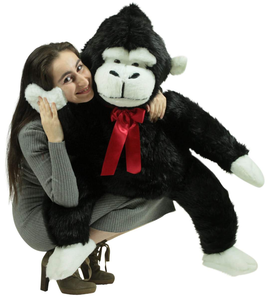 American Made Giant Stuffed Monkey 40 Inch Soft Black Big Stuffed
