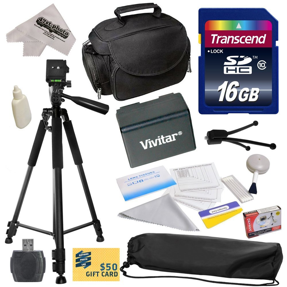Best Value Kit for Canon VIXIA HFR52 HFR50 HFR500 HFR32 HFR30 HFR300 HFR42 HFR40 HFR400 HFR36 HFR306 HFR38 HFM50 HFM52 HFM56 HFM500 HFM506 Camcorder with 16GB SDHC Card + Case + Tripod