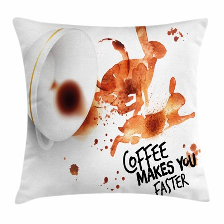 Coffee Art Throw Pillow Cushion Cover, Drink and Be Inspired Coffee Makes You Faster Quote Espresso Stain, Decorative Square Accent Pillow Case, 18 X 18 Inches, Burnt Sienna Black White, by Ambesonne