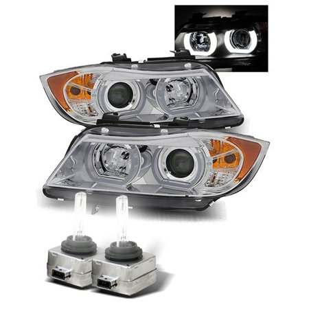 6000K HID/For 06-08 BMW E90 4DR Stock HID AFS Halo Projector Headlights  Chrome