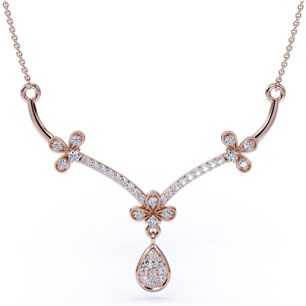 Jeenmata Diamond Cluster Necklace Vintage Pendant Necklace Trendy Necklace 10k Rose Gold Walmart Com Walmart Com