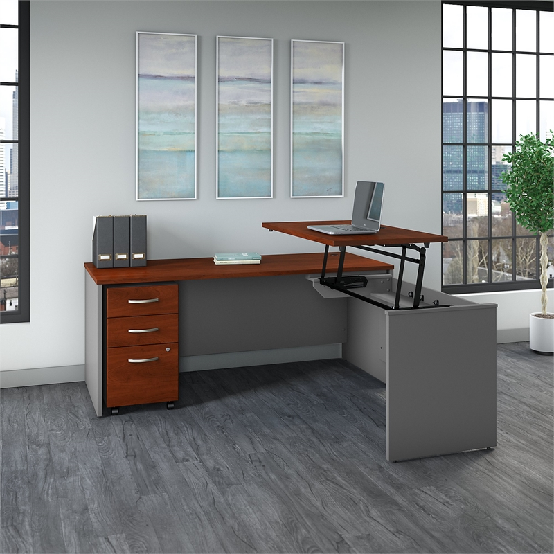 Series C 72W Sit to Stand L Shaped Desk Office Set-Hansen Cherry - image 3 of 7