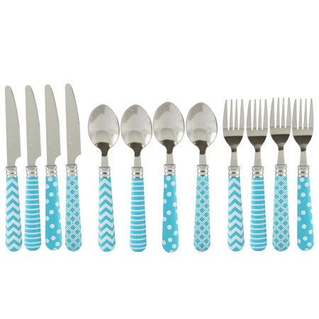 Gibson Home Retro Diner 12 piece Flatware Set with Turquoise Plastic - Retro Diner Supplies