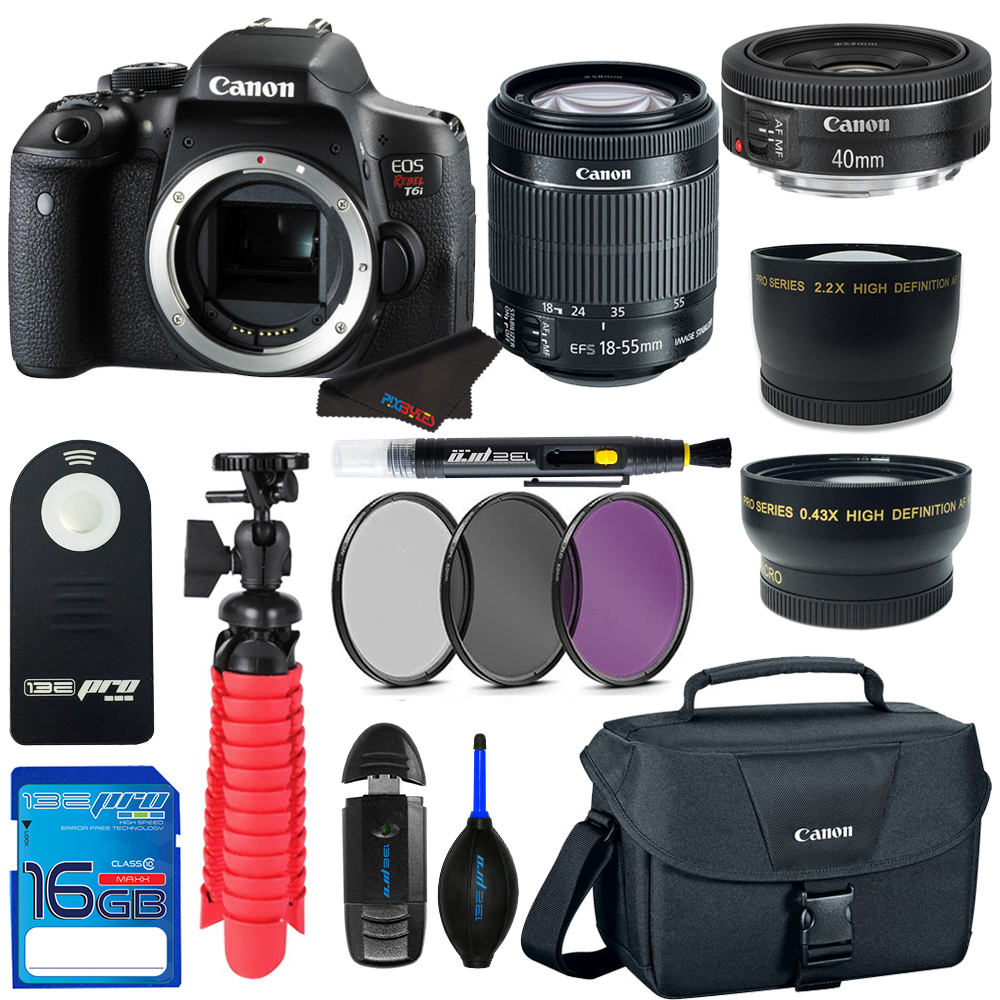 Canon EOS Rebel T6i DSLR Digital Camera + 18-55mm EF-S f/3.5-5.6 IS II Lens + Canon EF 40mm f/2.8 STM Lens + Pixi Basic - Accessory Bundle Kit