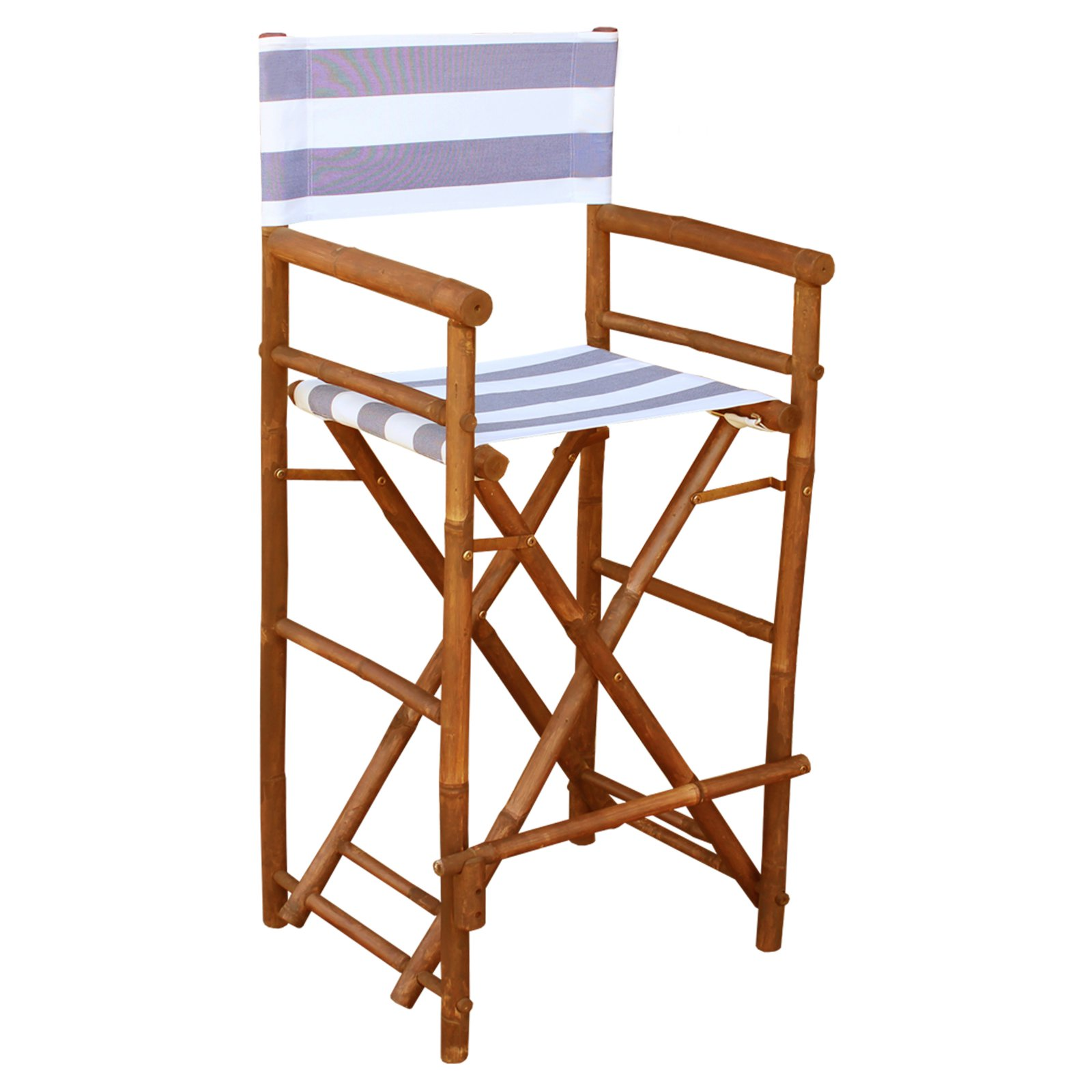 Bamboo 29-in. Bar Height Directors Chair with Striped Cover - Set of 2