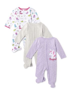 Wonder Nation Baby Girl Inverted Zipper Sleep 'N Play Pajamas, 3-Pack