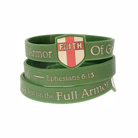 Holy Armor Of God Silicone Bracelets with Shield (Pkg of - Cheapest Silicone Bracelets