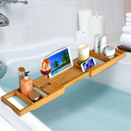 Ktaxon Bamboo Bathtub Rack Caddy Shower Book Tray Shelf Wine Holder 75-109cm