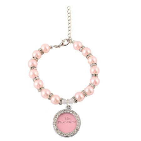 Plastic Pearl Rhinestone Photo Frame Pendant Identity Tag Pet Necklace Pink