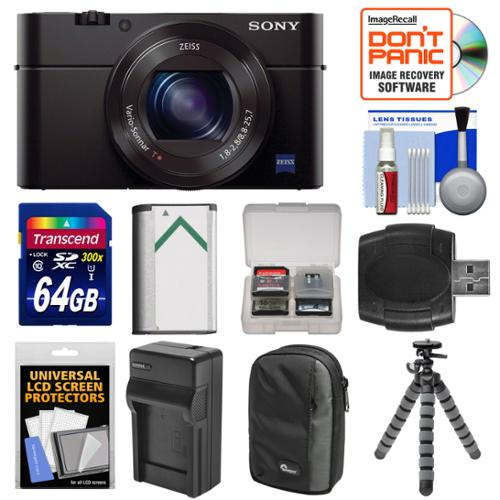 Sony Cyber-Shot DSC-RX100 III Wi-Fi Digital Camera with 64GB Card + Battery & Charger + Case + Flex Tripod + Kit