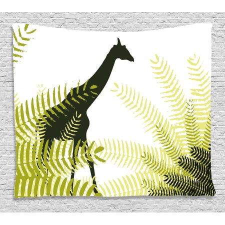 Wildlife Decor Tapestry, Silhouette of Giraffe in Ferns National Park Terrestrial Tall Animal Print, Wall Hanging for Bedroom Living Room Dorm Decor, 80W X 60L Inches, Green Black, by Ambesonne