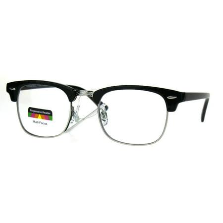 Half Horn Rim Hipster Multi 3 Focus Progressive Reading Glasses Black Silver - Horned Rimmed Glasses