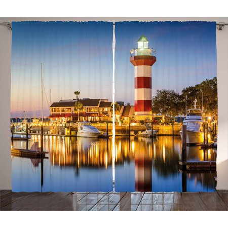 United States Curtains 2 Panels Set, Hilton Head South Carolina Lighthouse Twilight Water Reflection Boats Idyllic, Window Drapes for Living Room Bedroom, 108W X 96L Inches, Multicolor, by Ambesonne