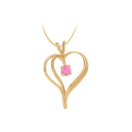 September Birthstone Created Pink Sapphire Heart Pendant Silver with Yellow Gold Vermeil 0.33 CT - image 1 of 2