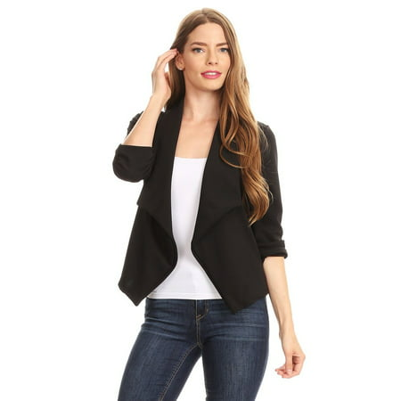 Women's Trendy Style 3/4 Sleeves Solid Open Jacket - Red Smoking Jacket