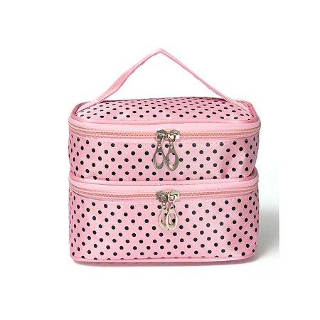7a1a87e3a95f Hanging Toiletry Travel Wash Makeup Box Cosmetic Organizer Case Dot Zip  Makeup Bag +Mirror
