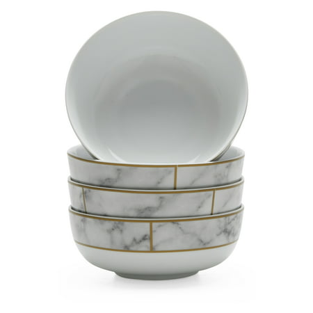 MoDRN Glam Mason 4 Piece Bowl Set, White ()