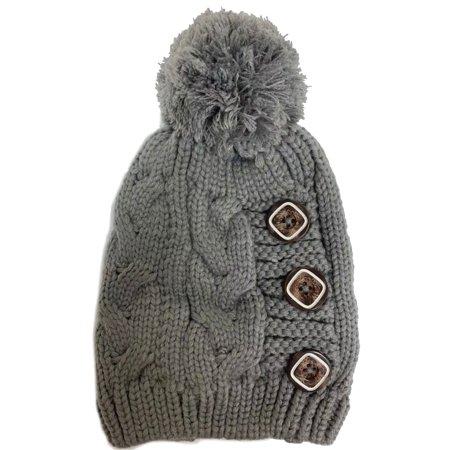 Newbee - Newbee Fashion - Women Winter Faux Fur Pom Pom Beanie Hat with  Button Thick Skull Ski Cap Stylish   Warm - Walmart.com da13b0b793c7