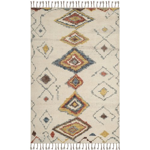 World Menagerie Gretta Hand-Knotted Ivory Area Rug